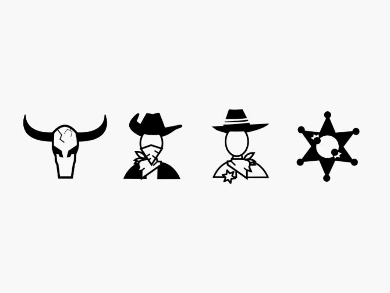 Cowboy Icon 1 glyph law oldschool western hat cowboy hat star head skull sheriff star icon cowboy sheriff man bull