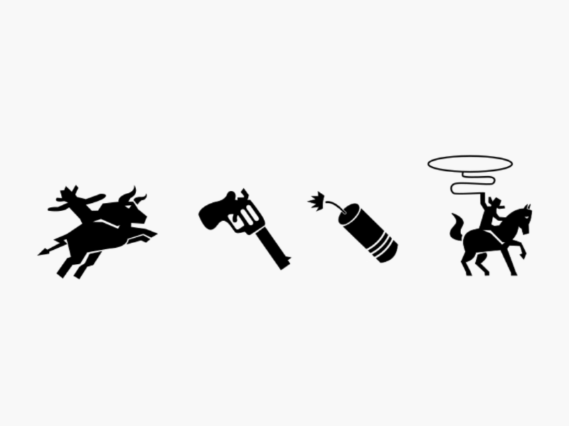 Cowboy Icon 2 oldschool old western black and white cowboy hat cowboy glyph fire rodeo icon dynamite horse bomb gun sheriff man bull
