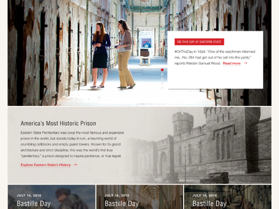 Eastern State Penitentiary - Homepage Design Comp historic prison museums website ui design