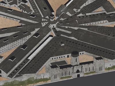 Eastern State Penitentiary - Isometric Prison Illustration historic museum map isometric vector illustration