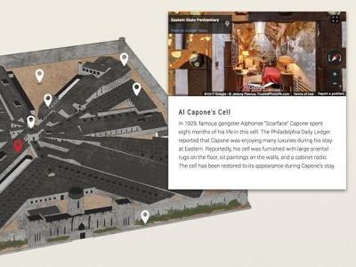 Eastern State Penitentiary - Online Tour isometric vector illustration street view google maps website online