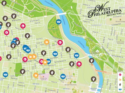 West Philly History Map - People's Emergency Center iconography culture history pins map