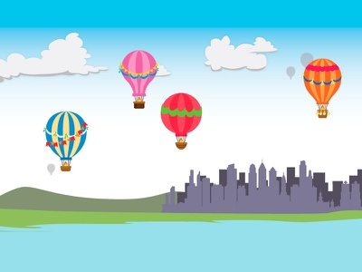 Hot Air Balloons Illustration for Kinect Game game vector interactive illustration kinect