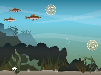 Salmon Challenges Activity Designs interactive salmon fish illustration online game