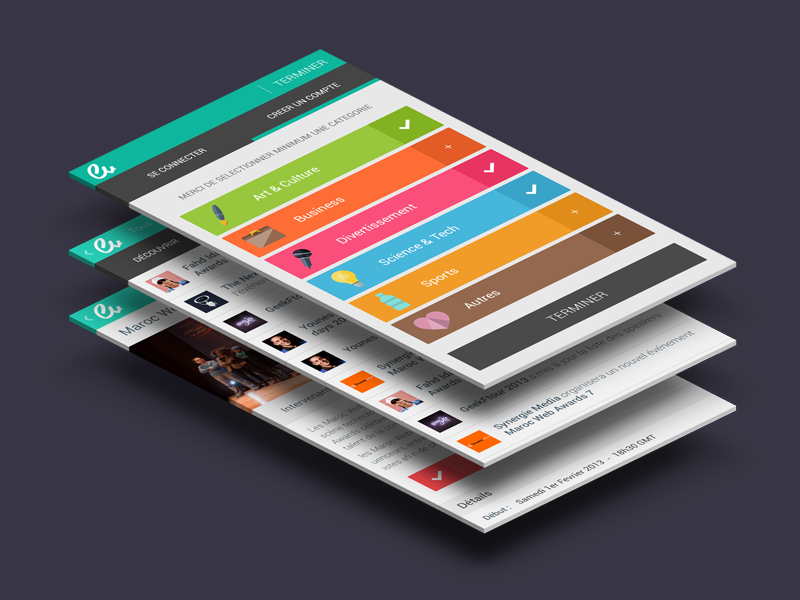 Ev app flat mobile app colors categories icons avatar button mockup android