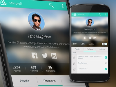 My Profile profile mobile app android cover flat icons minimal design