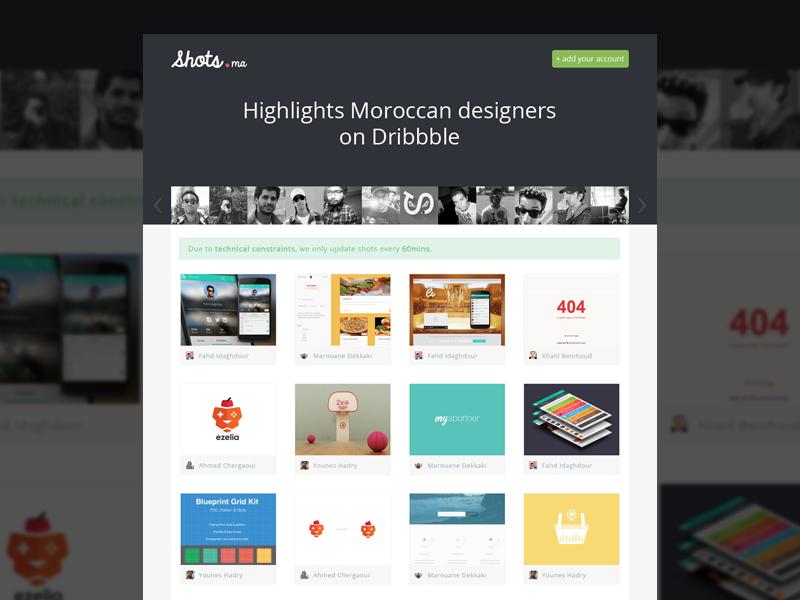 Shots - Homepage dribbble designer webdesign minimal website flat shots thumbnail avatar ui homepage landing