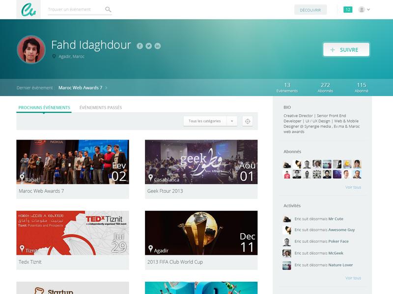 Ev - Profile Page profile website flat minimal events avatar button