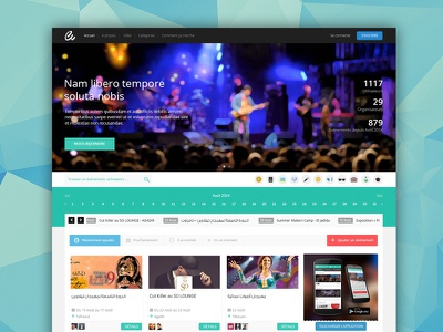 Homepage with Hero image flat web webdesign button action calendar hero logged thumbnail grid