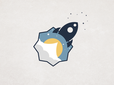 Launched rocket logo icon space flat stars sun cloud startup