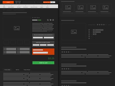 Ecommerce Product Page - Dark Wireframe ecommerce product dark wireframe minimal black website design webdesign prestashop wordpress woocommerce