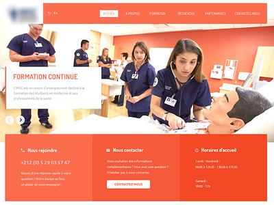 Medical Simulation Center menu contact button slider image hero flat center simulation medical orange website