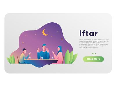 Iftar ui  ux stock icons stock dribble web  design gradient illustrator vector thumbnail banner web illustration design iftar ramadhan