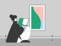 Woman painting in the museum