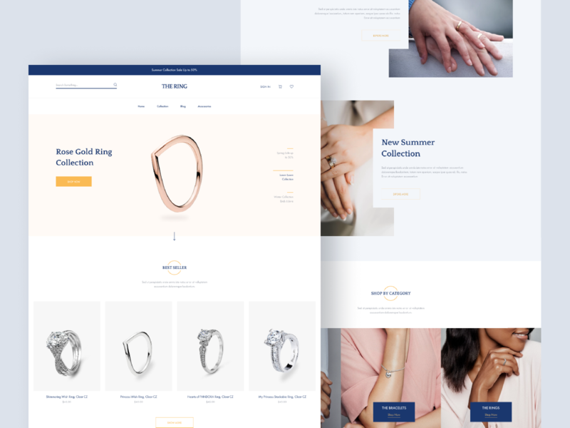 Jewelry Shop Landing Page typography figma shopify minimal jewelry shopping shop ecommerce design blog web ui ux modern clean