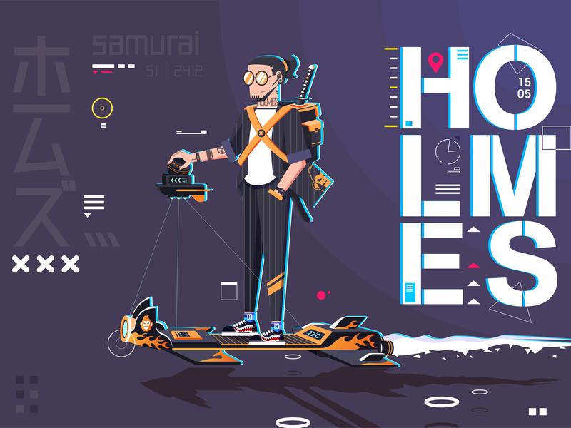 SAMURAI 1505 ios clean identity ui animation typography type minimal logo illustrator flat 2019 website vector icon ux branding 2019 trends illustration design