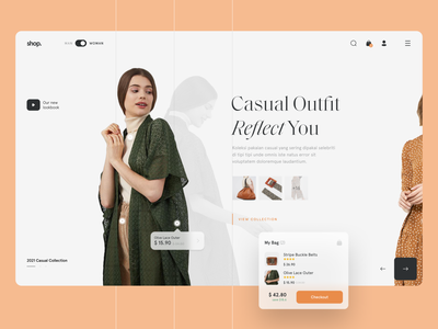 👗 #Exploration - Interactive Fashion Store ui design ux ui homepage layout grid clothing woman minimalist typography apparel clean outfit fashion store ecommerce carousel interactive