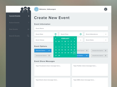 Dashboard New Event flat simple clean dashboard charts form
