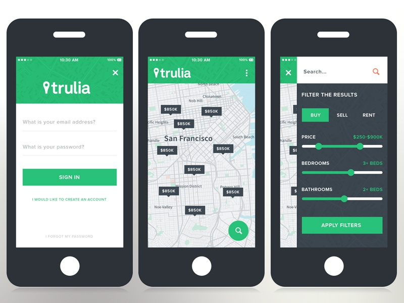 Trulia Mobile mobile flat trulia filters tooltips login