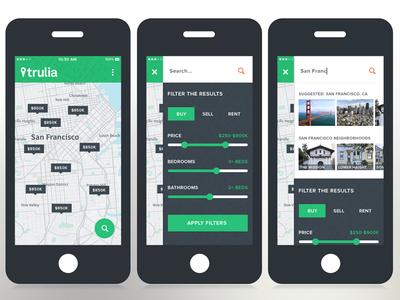 Trulia Mobile Search flat filters search mobile trulia