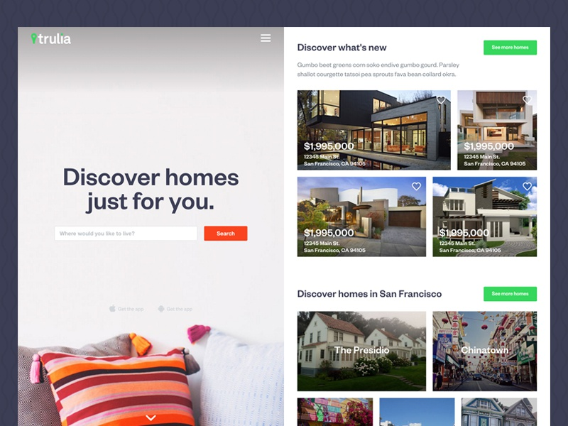 Trulia Homepage Redesign real estate home homepage