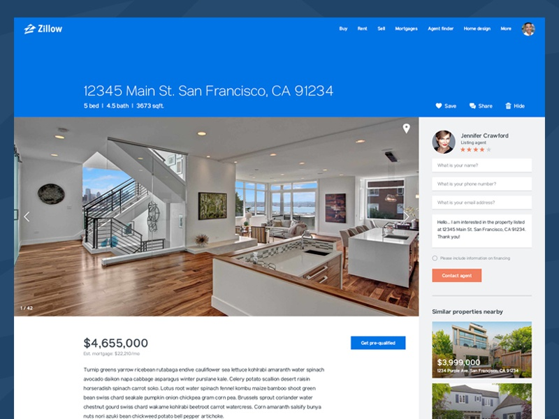 Zillow detail page - simplified real estate product page reimagined flat simple zillow