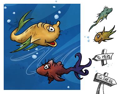 Dr. Seuss Wall Graphics wall graphic mural fish kids drawing illustration wallart drseuss