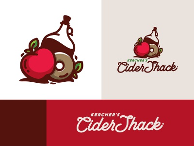 Kercher's Cider Shack illustration branding graphic shack brand logo apple cider