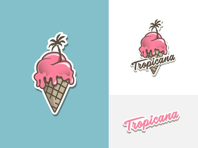 Tropicana Ice Cream palm tree ice cream logo ice cream shop branding design logodesign branding