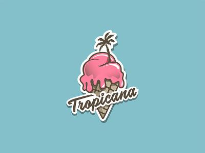 Tropicana Ice Cream palm tree ice cream logo ice cream shop branding design logodesign branding