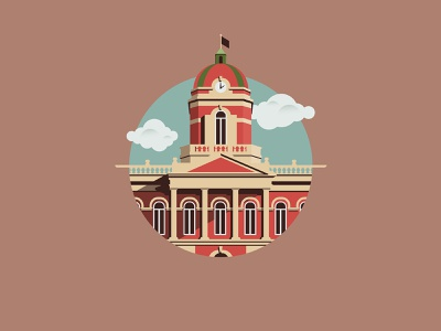 Goshen Courthouse illustrator graphic sketch branding vector indiana design illustration logo