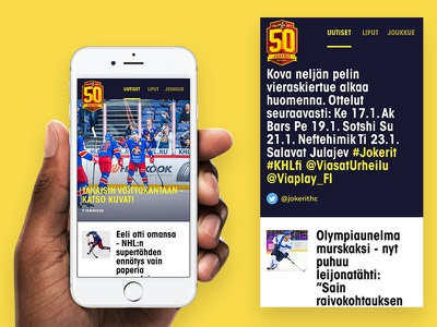 Jokerit app - Newsfeed scroll simple ui list articles mobile app sport twitter feed news