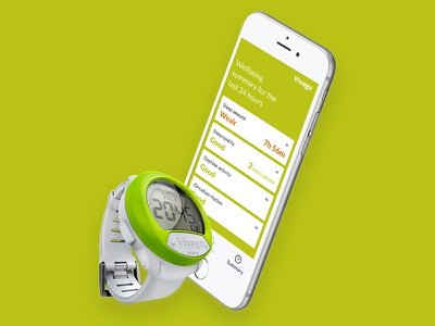 Vivago Move design ui solution safety statistic wellbeing medical wearable health mobile app