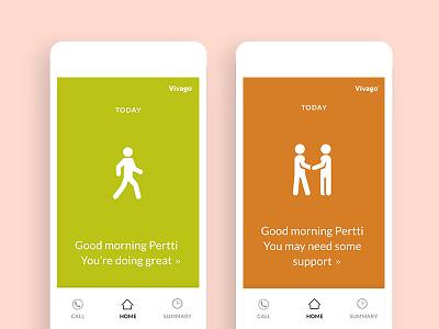 Vivago Move - Home screen medical safety health ui mobile app