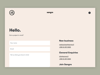Sangre.fi - Contact page webdesign agency ui typography design form contact website