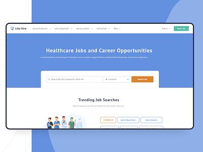 Healthcare Job Portal   UI UX Designing   UI Development portals job portal job application job listing job board clean cover page website design ui ux branding ui application design webdesign uiux healthcare