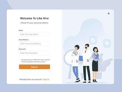 Log In Screen   Healthcare Job Portal hire sign up form signup register page registration form register form healthcare forms login form login screen login