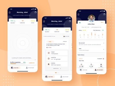 Minimal App Design | Field Agents analytics feed account discover profile agent field task manager ios app android mobile ui modern interation design interaction ui ux clean branding trending mobile app