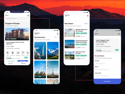 Mobile first Travel, Vacation, Tour Portal ui ux creative clean app website holidays tour vacation travel mobile