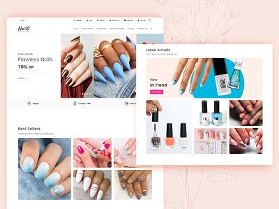 Nail Art Shopify eCommerce UI UX Designing minimal onlinestore ecommerce beauty fashion nail salon nail wraps nail art shopify accessories
