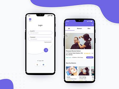 Professional Salons Finder mobile app design clean design application design uiue mobile app ui ux salons
