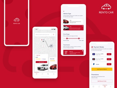 Car Rental App creative application design ui car  auto ui ux clean rental app rentals cab booking car