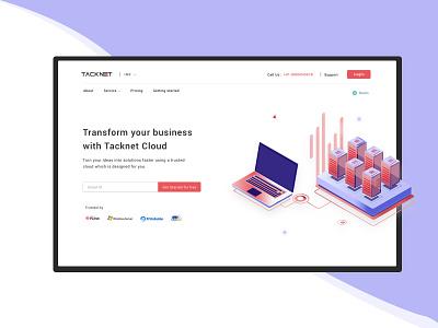 Cloud Hosting Website Design clean illustration landing page ui ui ux creative website design website concept website