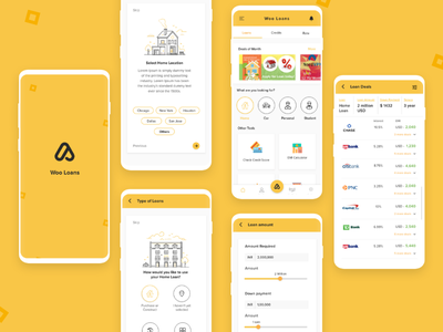 Loans   Banking - Offers, Deals and Comparison yellow creative clean ux designer ui ux loans banking design application design