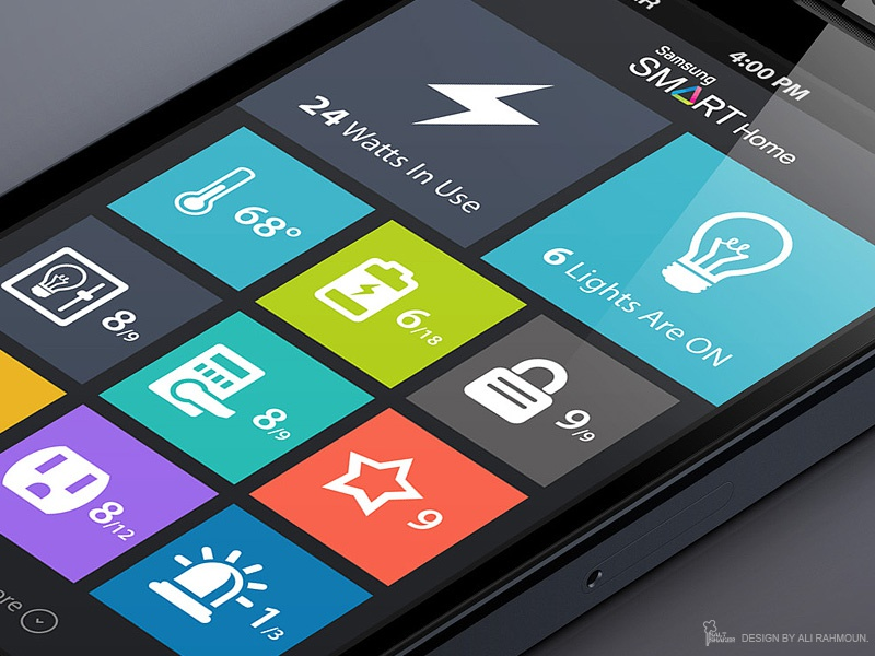 home automation flat app design by ali rahmoun dribbble. beautiful ideas. Home Design Ideas