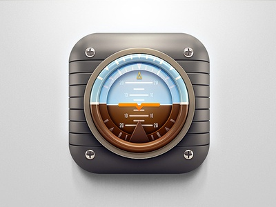 Retro Plane Artificial horizon 3D Icon