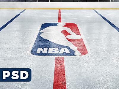 Ice Hockey Rink Logo Mockup freebie sports psd rink arena ice hockey