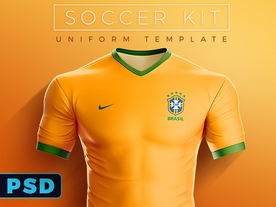 Soccer Kit / Uniform PSD Template soccer uniform soccer kit template mockup psd 3d brazil jersey football soccer