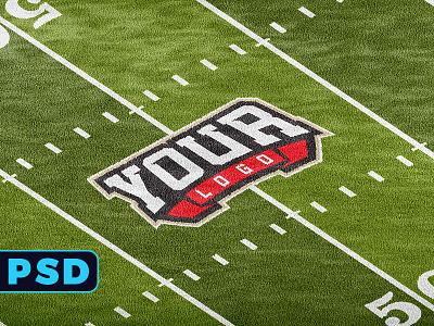 FOOTBALL FIELD 4K LOGO MOCKUP template 3ds max vray grass render psd grass psd logo mockup football mockup football logo