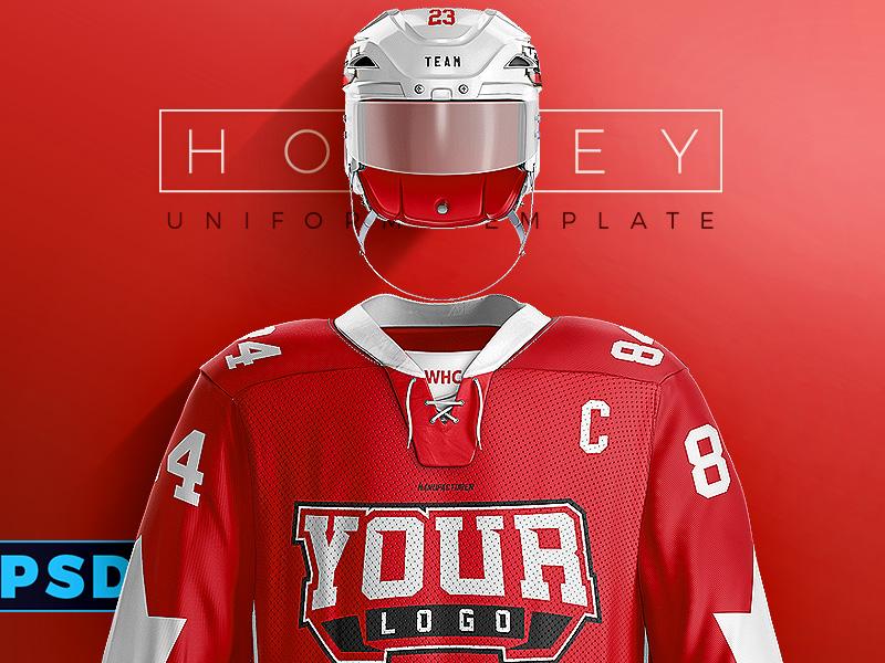 Hockey Uniform Photo Template Sports Vray Helmet Jersey Ice Nhl Mockup